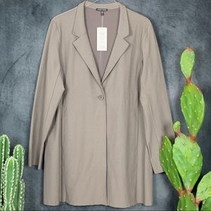 🆕Eileen Fisher Button Crepe Coat Blazer Tan  B397